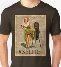 Pin Up Girl Making #selfie Vintage Dictionary Art T-Shirt