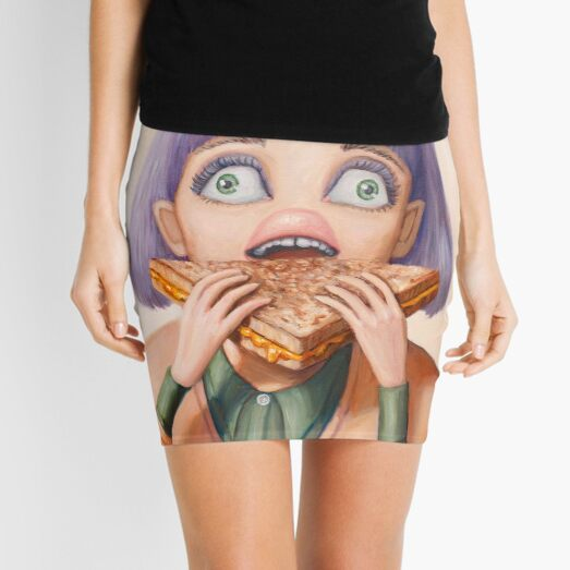 Grilled - Painting of woman eating a sandwich by artist Heather Buchanan Mini Skirt