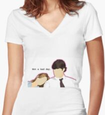 Jim and Pam - Custom L.C. Women's Fitted V-Neck T-Shirt