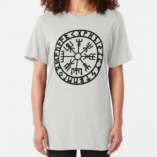 Vegvisir - Futhark - Runes - Navigator - Vikings Slim Fit T-Shirt