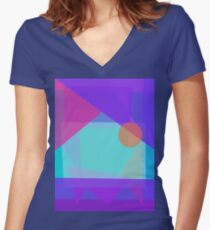 Setting Sun behind the Mountain Women's Fitted V-Neck T-Shirt