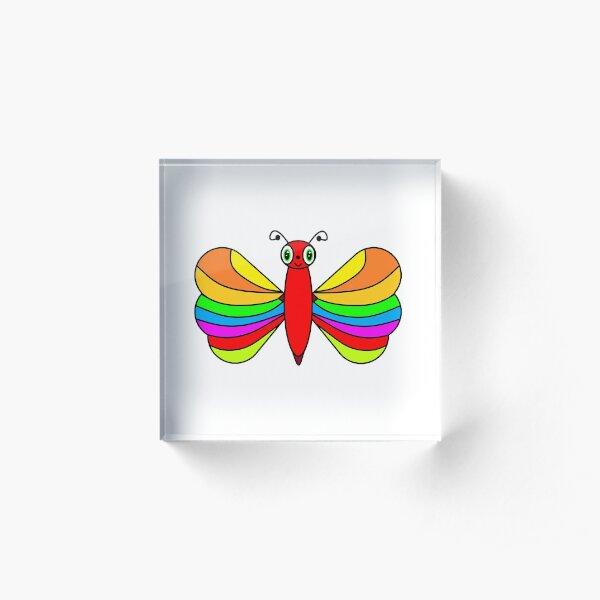 Multi-coloured Butterfly Acrylic Block