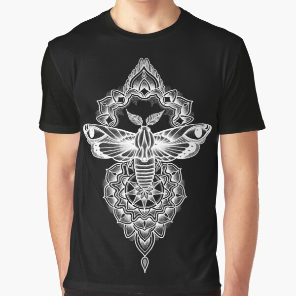 White pen and ink dotwork moth mandala Graphic T-Shirt