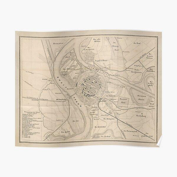 Vintage Mannheim Deutschland Karte (1844) Poster