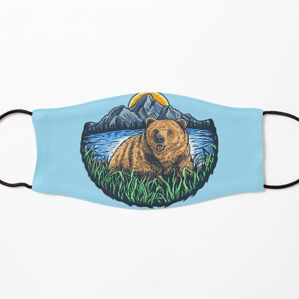 Wild bear between mountains sun and river Kids Mask