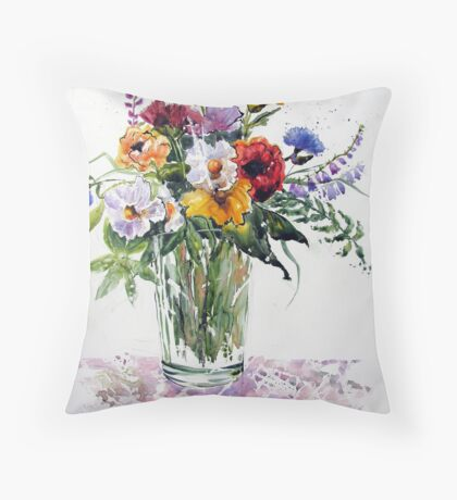 Floral in Primary Colours Throw Pillow