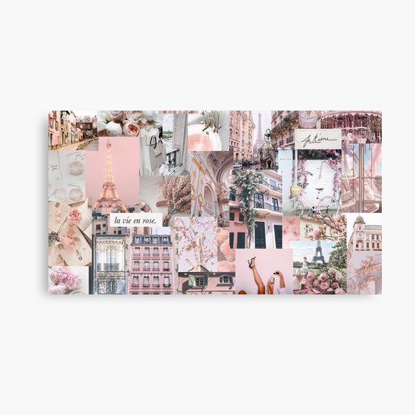 Parisian Pink Girly Collage / VSCO Trendy Canvas Print