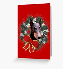 Doberman Face Holiday Wreath  Greeting Card