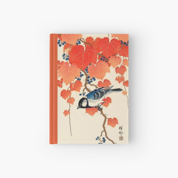 Vintage Japanese Jay and Autumn Grapevine   Hardcover Journal