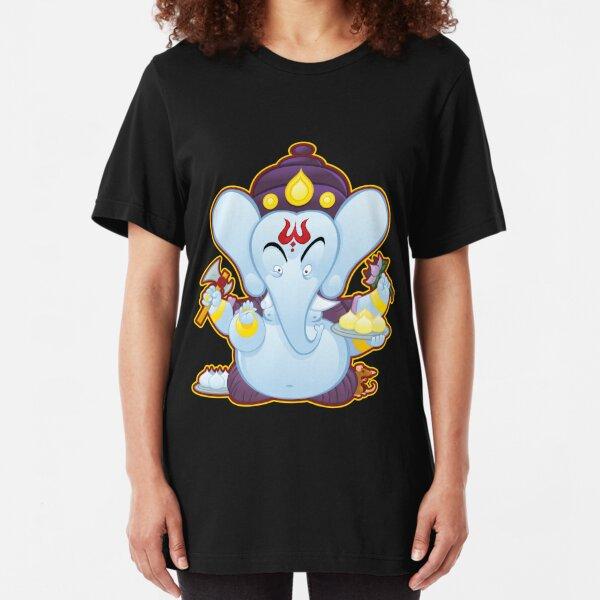 Cartoon Ganesha Slim Fit T-Shirt
