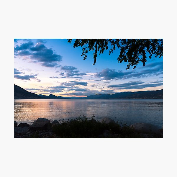 Colorful Summer Sunset View of Okanagan Lake Photographic Print