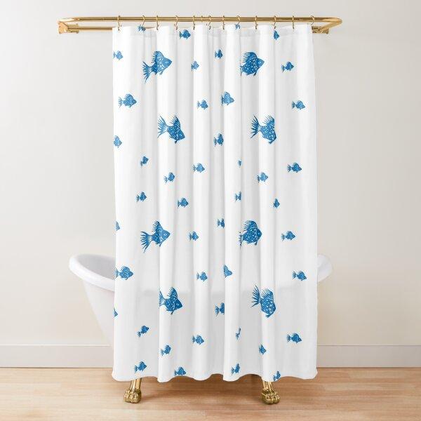 Feeling blue-Happy fish Shower Curtain