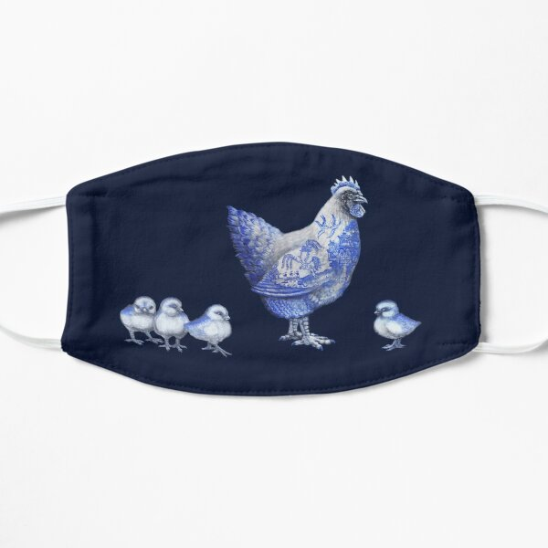 Blue Willow Hen and Chicks Mask