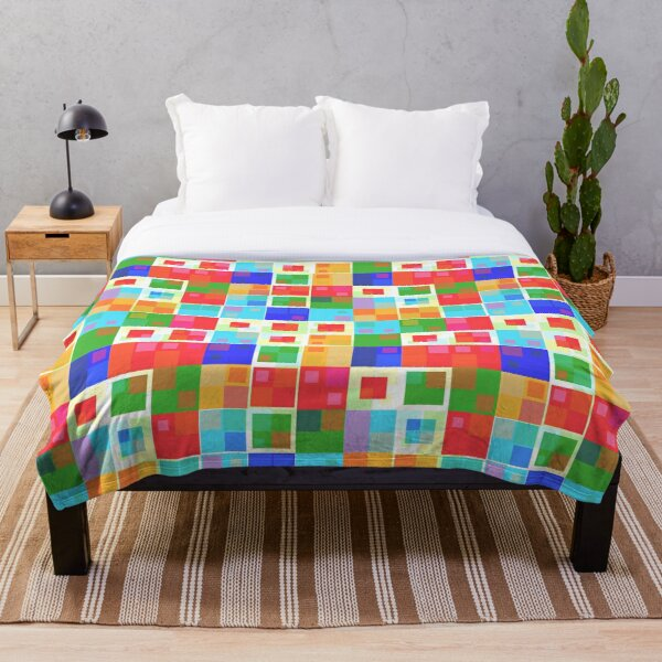 Colorful squares Throw Blanket