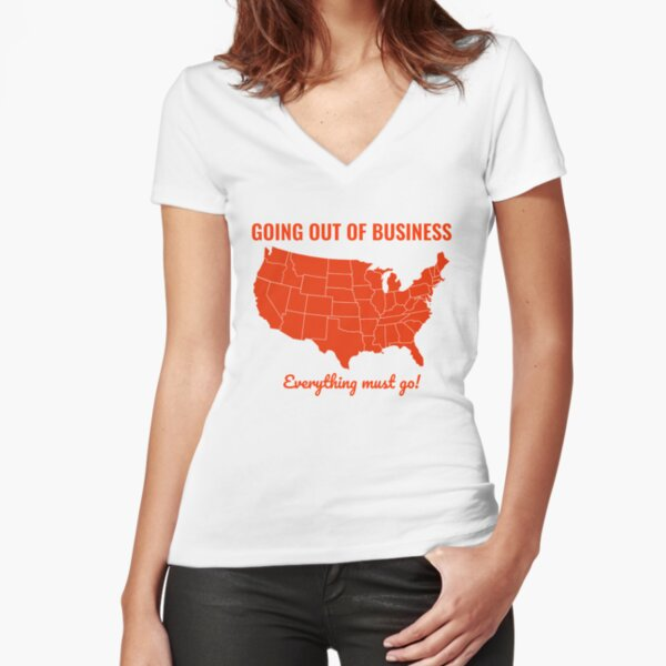 Going Out Of Business: USA Fitted V-Neck T-Shirt