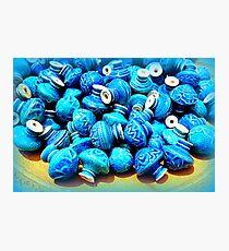 Blue pottery ceramic knobs Photographic Print