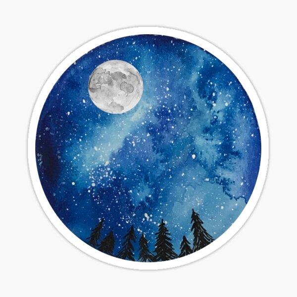 Watercolor Starry Night Sticker