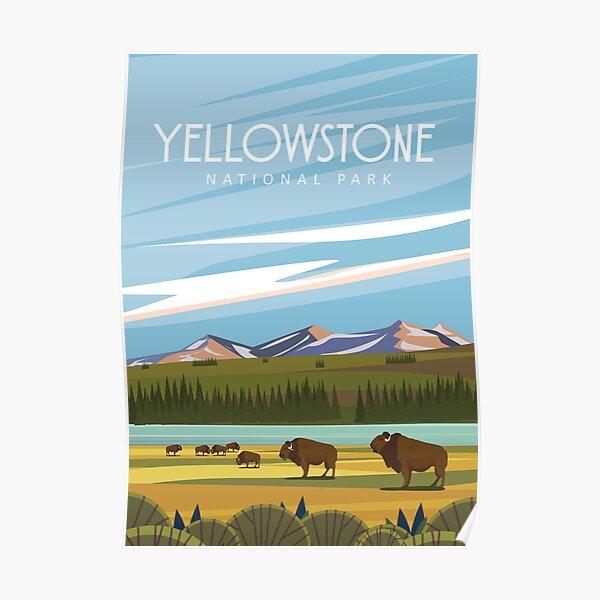 Yellowstone modern  travel poster  Poster