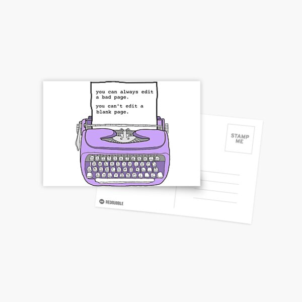 Purple Typewriter - Motivational Writing Quotes Postcard