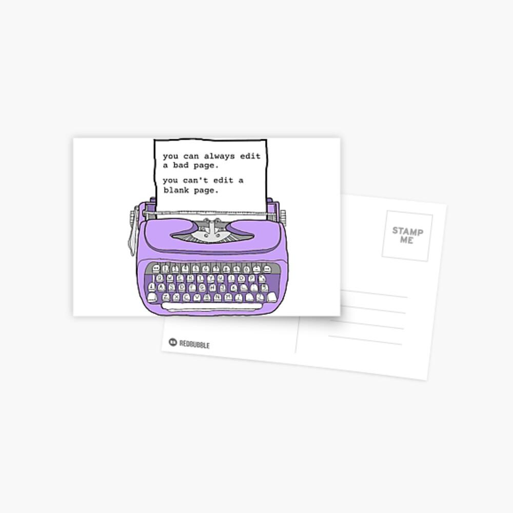 Purple Typewriter - Motivational Writing Quotes Postcard