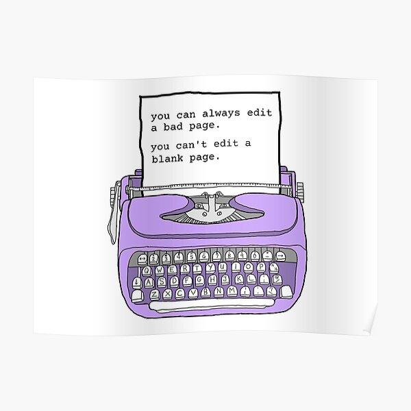 Purple Typewriter - Motivational Writing Quotes Poster
