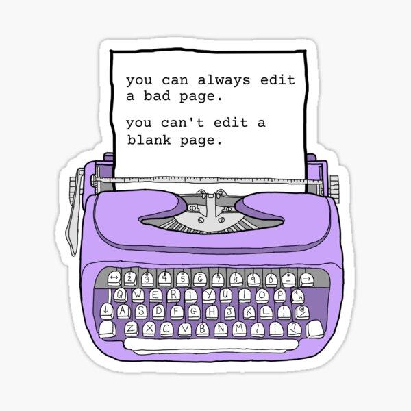 Máquina de escribir púrpura - citas de escritura motivacional Pegatina