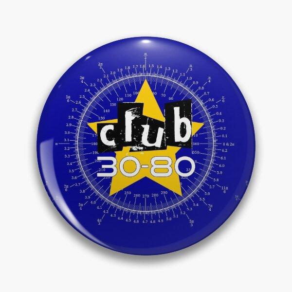 Club 30-80 logo, yellow star on a degree radian chart Pin