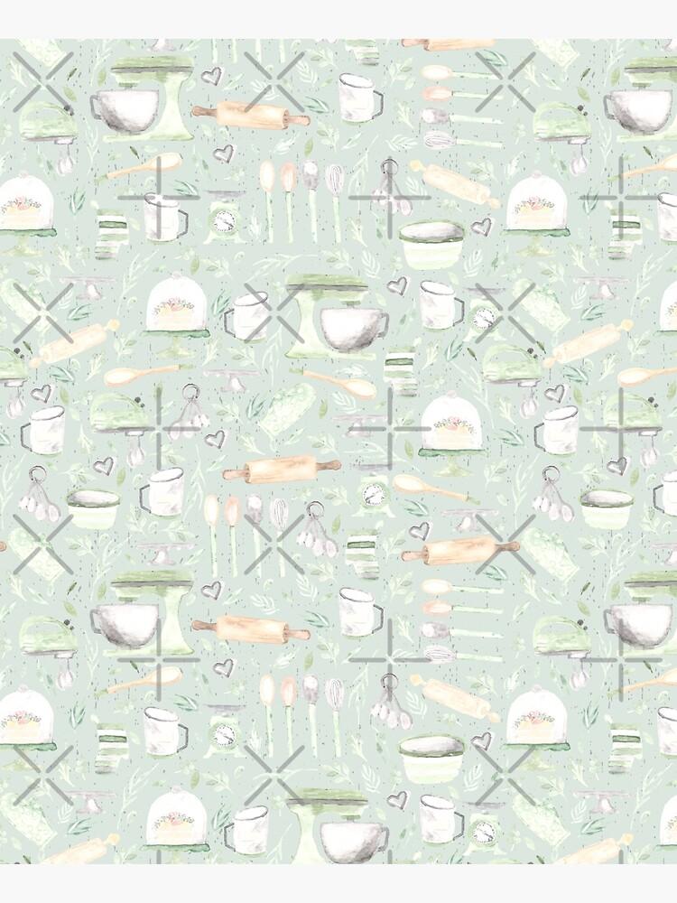 Baking Pattern   Mint Green   Texture by Harpleydesign