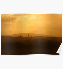 Sunset over Siena Poster