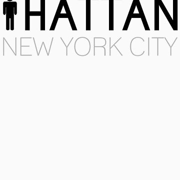Man hattan Tee - New York City - Black/Grey Lettering by manhattantee