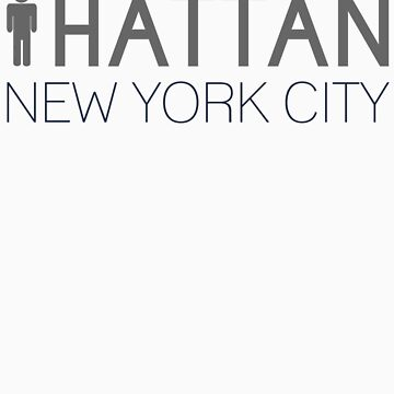 Man hattan Tee - New York City - Grey/Blue Lettering by manhattantee