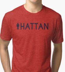 Man hattan Tee - Yankee Blue Lettering Tri-blend T-Shirt