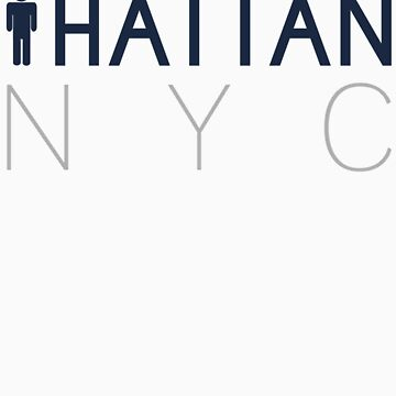 Man hattan Tee - NYC - Grey/Blue Lettering by manhattantee