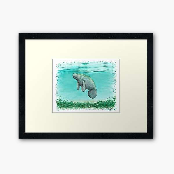 """""""Mossy Manatee"""" by Amber Marine ~ Watercolor and ink painting, art © 2016 Framed Art Print"""