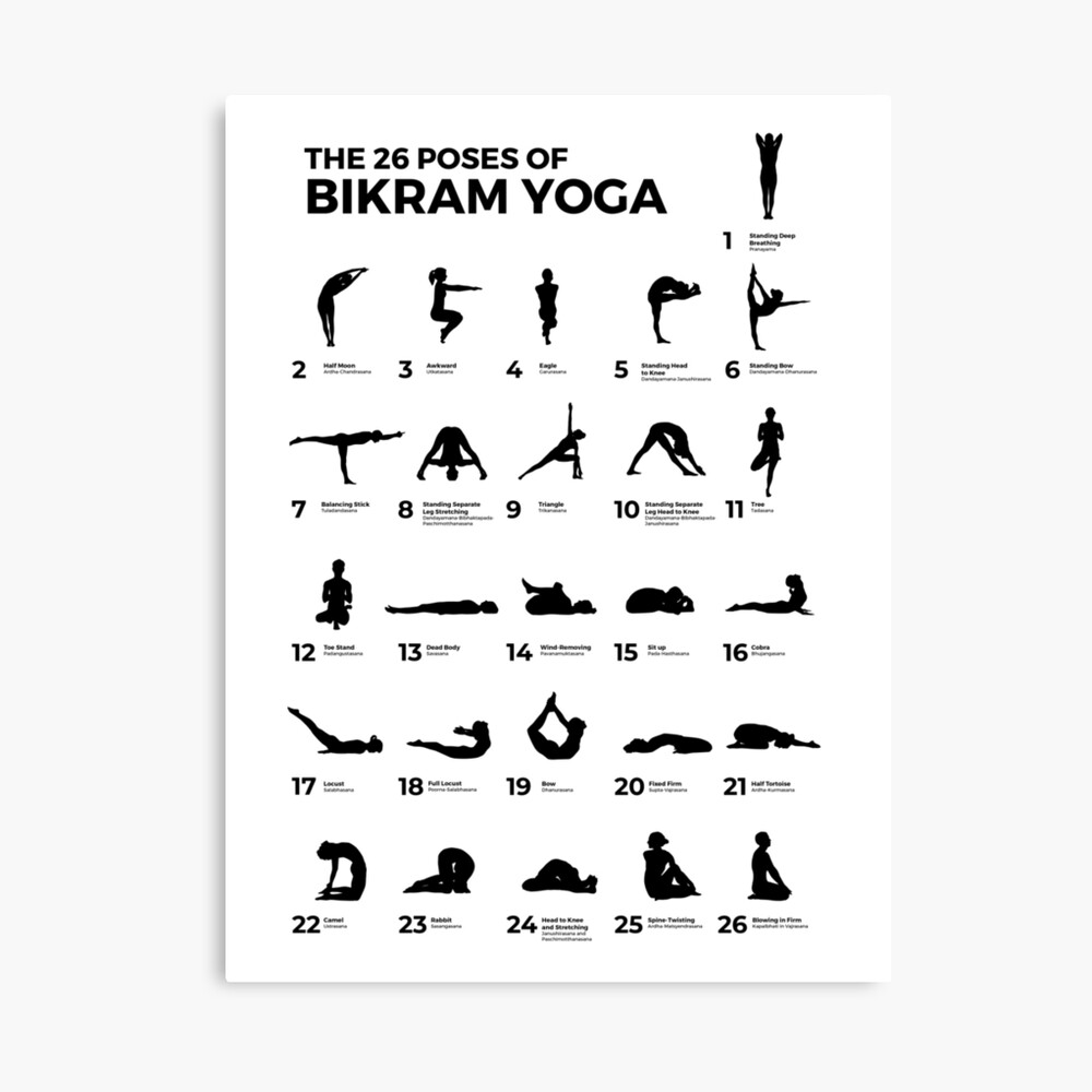 The 26 Poses Of Bikram Yoga Poster By Artpause Redbubble