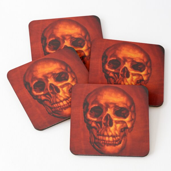 Skull from a Pumpkin Carving Coasters (Set of 4)