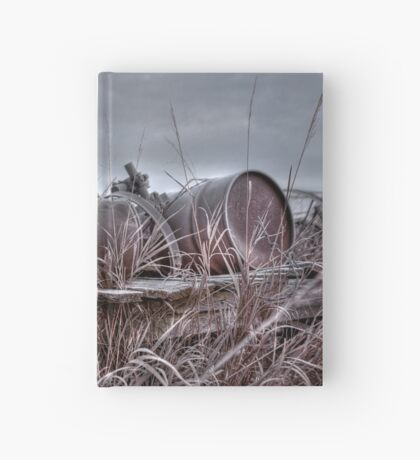 Old wagon in field Hardcover Journal