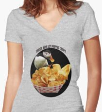 ☝ ☞ THESE ARE MY PUFFIN CHIPS TEE SHIRT☝ ☞ Women's Fitted V-Neck T-Shirt