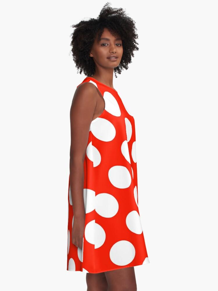 Alternate view of Big polka dots, red,white,modern,trendy,pattern A-Line Dress