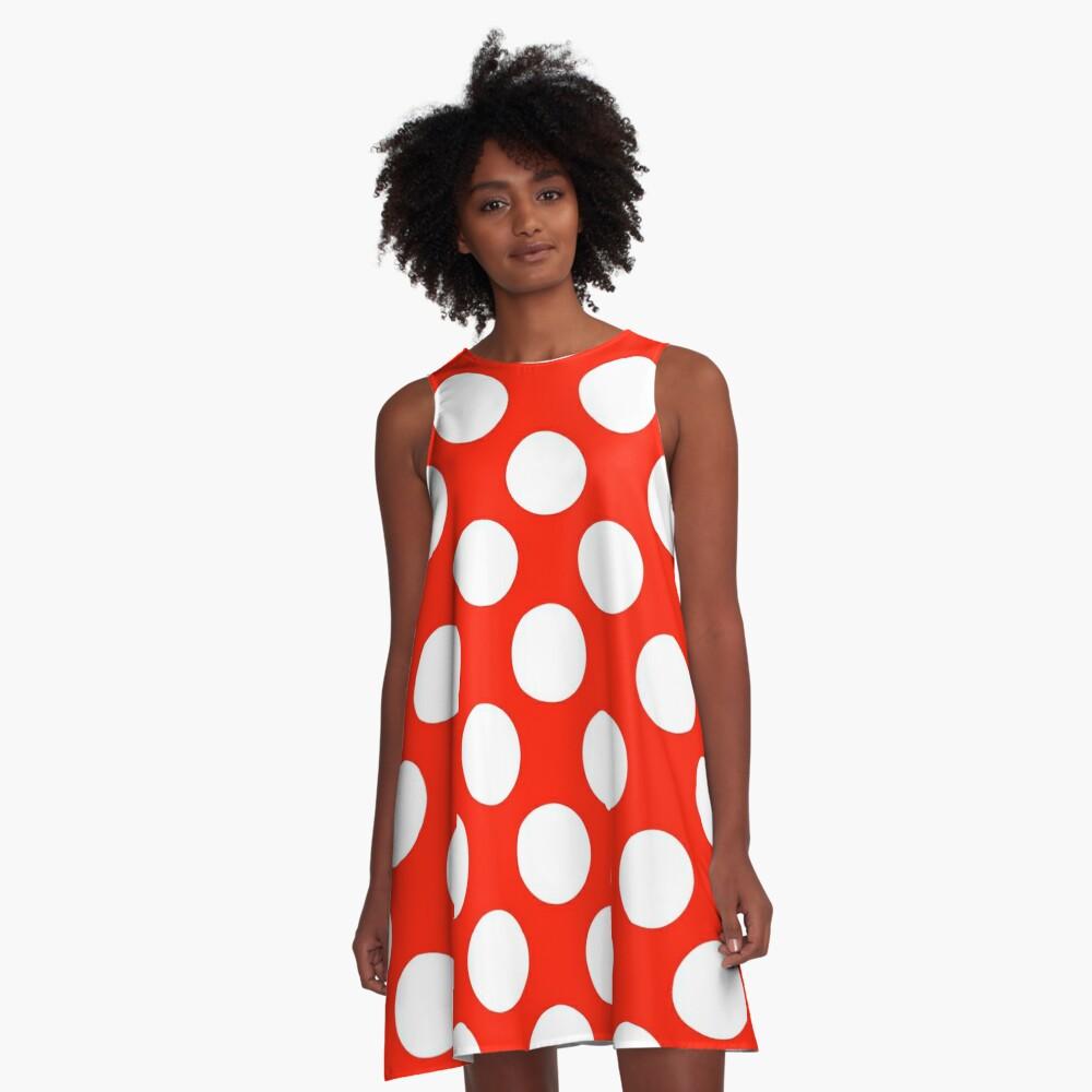 Big polka dots, red,white,modern,trendy,pattern A-Line Dress