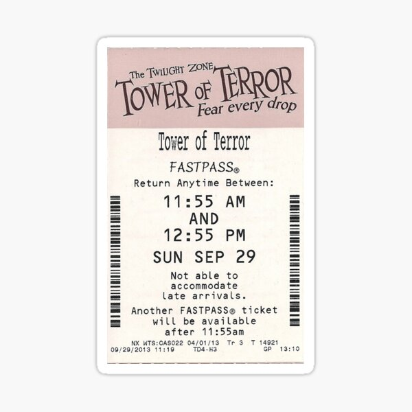 Tower of Terror Fastpass Sticker