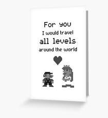 Mario and Peach love Greeting Card