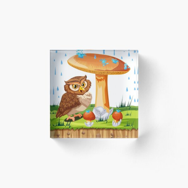owl next to a fungus under the rain Acrylic Block