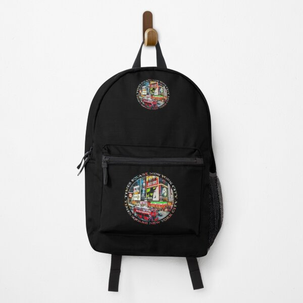 Times Square New York City Badge Emblem (on black) Backpack