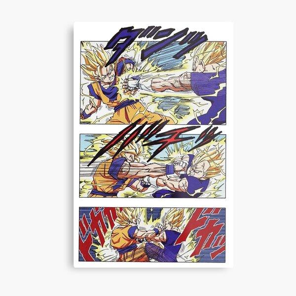 Goku vs Majin Vegeta Manga Page Metal Print