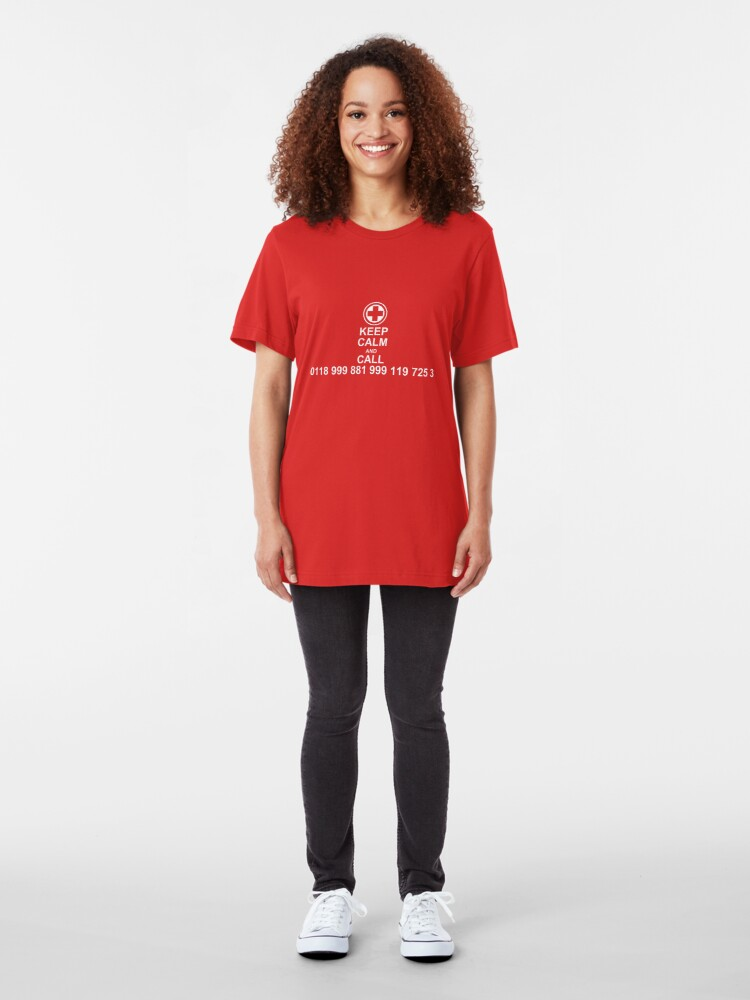 Alternate view of Keep Calm and Call 0118 999 881 999 119 725 3 Slim Fit T-Shirt