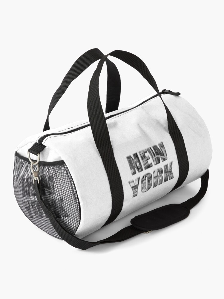 Alternate view of New York (b&w photo filled flat type on white) Duffle Bag