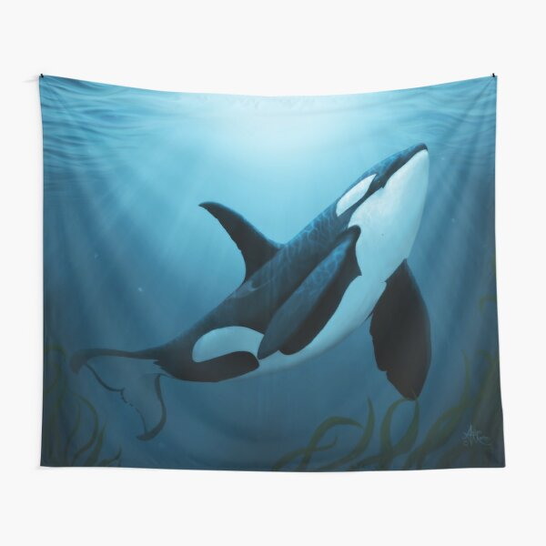 """""""The Dreamer"""" by Amber Marine ~ (Copyright 2015) orca art / killer whale digital painting Tapestry"""