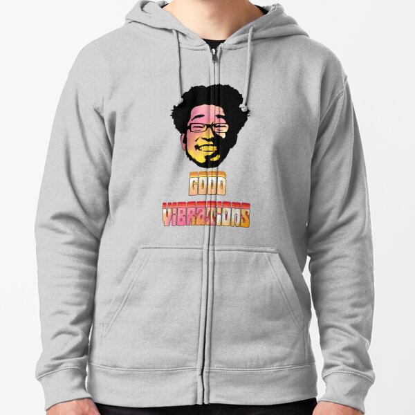 Punpun Afro God Good Vibrations - Orange  Zipped Hoodie