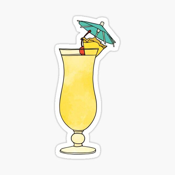 Pina Colada Watercolor Cocktail Drink Sticker